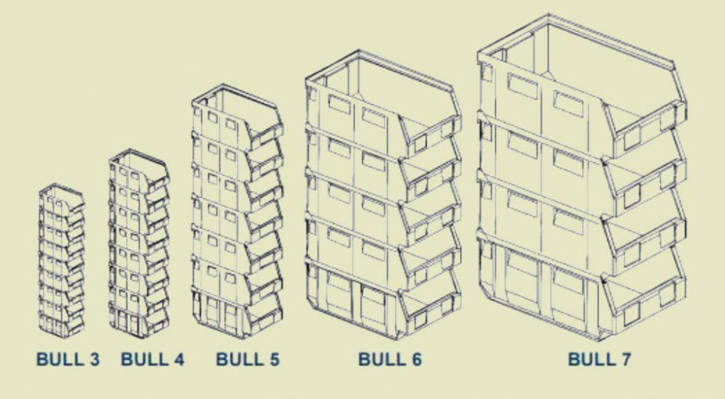 Bull Kunststof bakken. Metalsistem